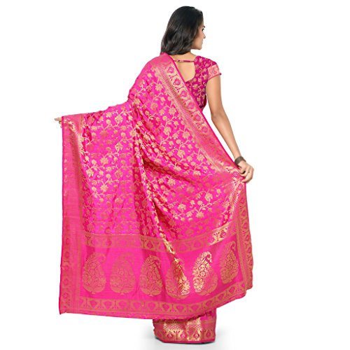 VARKALA SILK SAREES Women's Kanchipuram Tussar Silk Saree With Blouse Piece